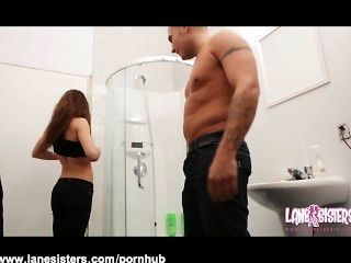 Shana Lane Gives Deepthroat Blowjob In Bathroom