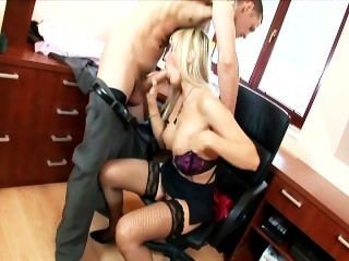 Busty Secretary Fucking On An Office Desk Wearing Thigh High Lingerie