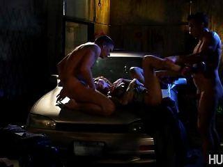 Dirty Slut Fucking Two Strangers In Back Alley
