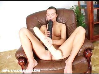 Cute Teen Suzie Filling Her Tight Pussy With A Giant Dildo
