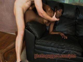 Black Skank Rides A Fat White Dick