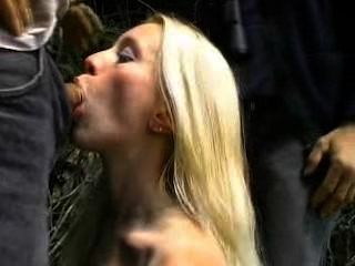 French Blonde Avalone In Black Stockings Outdoor Gangbang