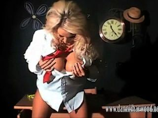 Slutty Blonde Schoolgirl Danni  Oils Up Her Big Juicy Tits In Class