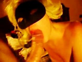 Masked Blonde Blows Dick & Busts Booty!