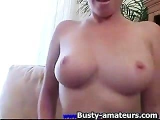 Horny Ginger Strips And Toying On The Couch
