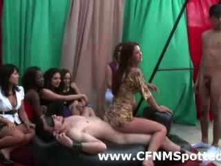 Cfnm Girls Tease Guys And Give Them A Handjob In Group Sex