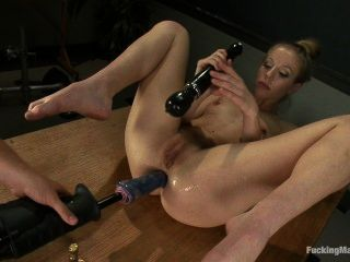 Chastity Takes Fucking Machine In Cunt And Ass