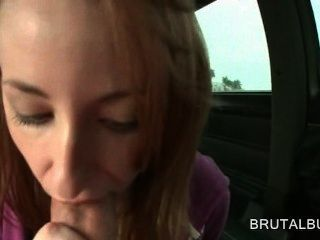 Amateur Sex Starved Redhead Giving Blowjob In The Bus