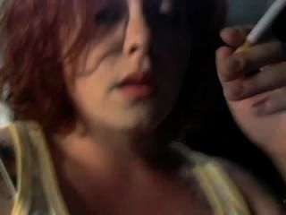 Sexy Redhead Smoking Fetish Closeup