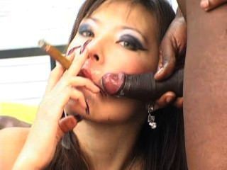 Cigar Smoking Escort Ella Interracial Sloppy Facial Cumshots!