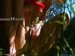 Petite Russian Coed Peeing In A Forest