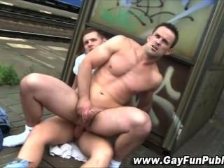 Nasty Public Cumshot For Horny Gay