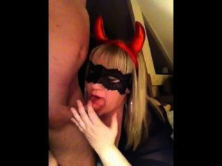 Devil Blonde Slut Sucking