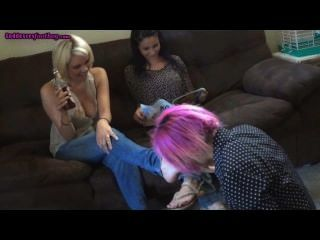 Sisters Degrade Slave Girl Foot Worship