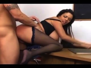Brunette With Big Tits Fucking In Black Ripped Up Crotchless Pantyhose