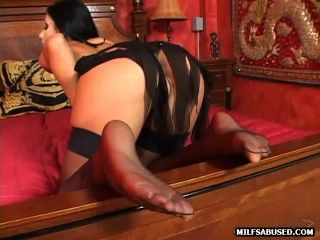 This Sexy Brunette Milf In Stockings Is Getting Fucked