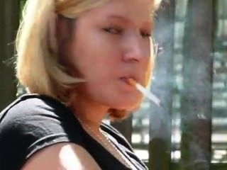 Relax Outdoor Smoking Fetish Blonde