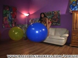 Teen Jumps And Falls On Big Balloons