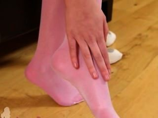 Sexy Pink Nylon Stocking And Hot Babe