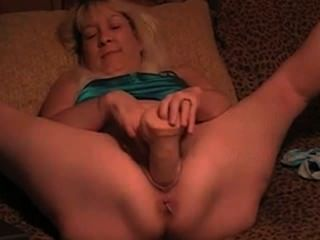 Mature Blonde Wife Takes Big Massive Dildo In Her Cunt