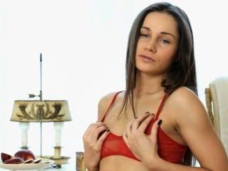 Brunette In Red Riding Sexy Dildo