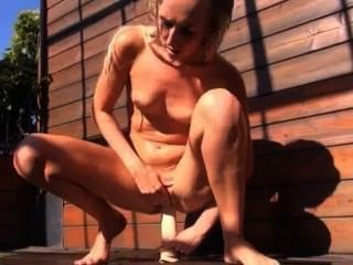 Toying And Opening Her Hole On Terrace