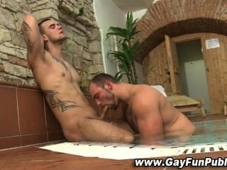 Horny Stud Gets Public Suck Off
