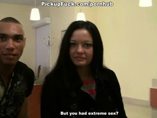 Horny Girl Shows Everything And Does Blowjob For Two Guys