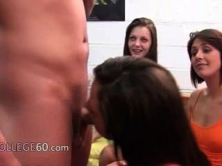 Group Of College Girls Sucking One Cock