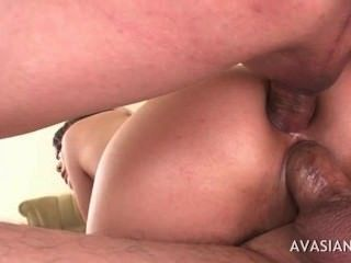 Hairy Asian Double Holes Penetration By Two Guys