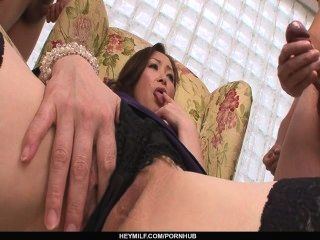 Miyama Ranko Rubs Her Pussy While Sucking Two Dicks