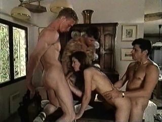 Vintage Italian Movie - Brunette Fucks Three Guys