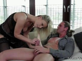 Blonde Fucked By Cock And Strap On Dildo