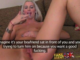 Fakeagentuk petite blonde uk escort takes big fat cock on casting couch 3