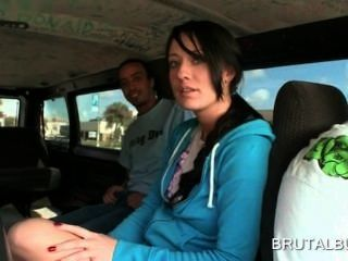 Superb Brunette Girl Talked Into Having Sex In The Bus