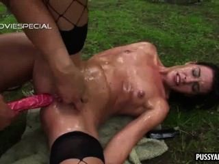 Foxy Brunette Getting Toyed And Fucked Anally Outdoors