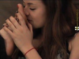 Brunette Sniffing The Feet Of 2 Other Chicks.flv