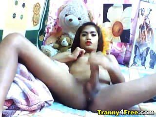 Asian Tranny Jerking Off Her Big Cock