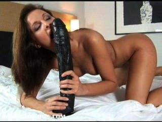 Gorgeous Brunette Lauryn Filling Her Pussy And Asshole With Massive Dildos