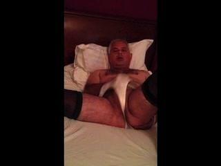 Guy Masturbating Wearing Girlfriends Tights And Knickers