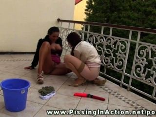 Piss Fetish Lesbo Skanks Outdoor Pee Love On The Balcony