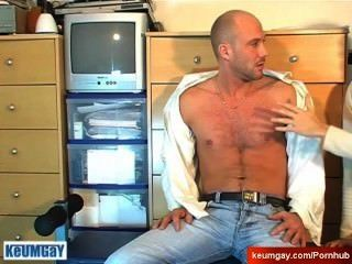 Straight Guy Serviced: David Gets Wanked His Hard Cock By A Gay Guy !