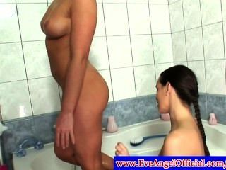 Kathia Nobili And Eve Angel In Bathtub Using Toy