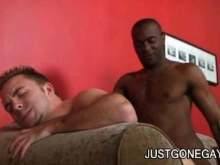 Justyn Blade: Throbbing Black Cock On Gay White Ass