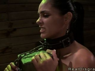 Busty Brunette Chained To A Post Fucked