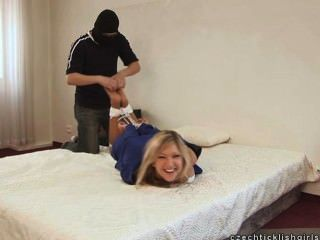 Hogtied On Bed And Tickled