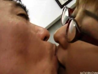 Asian Woman Horny At The Office