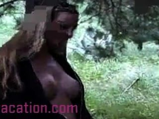 Slutty Bitch Goes For A Naked Walk In The Forest