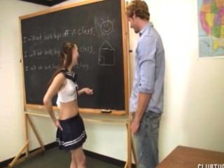 Cute Schoolgirl Jerks Off Her Teacher