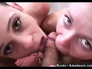 Sunny And Holly Gives Double Blowjob